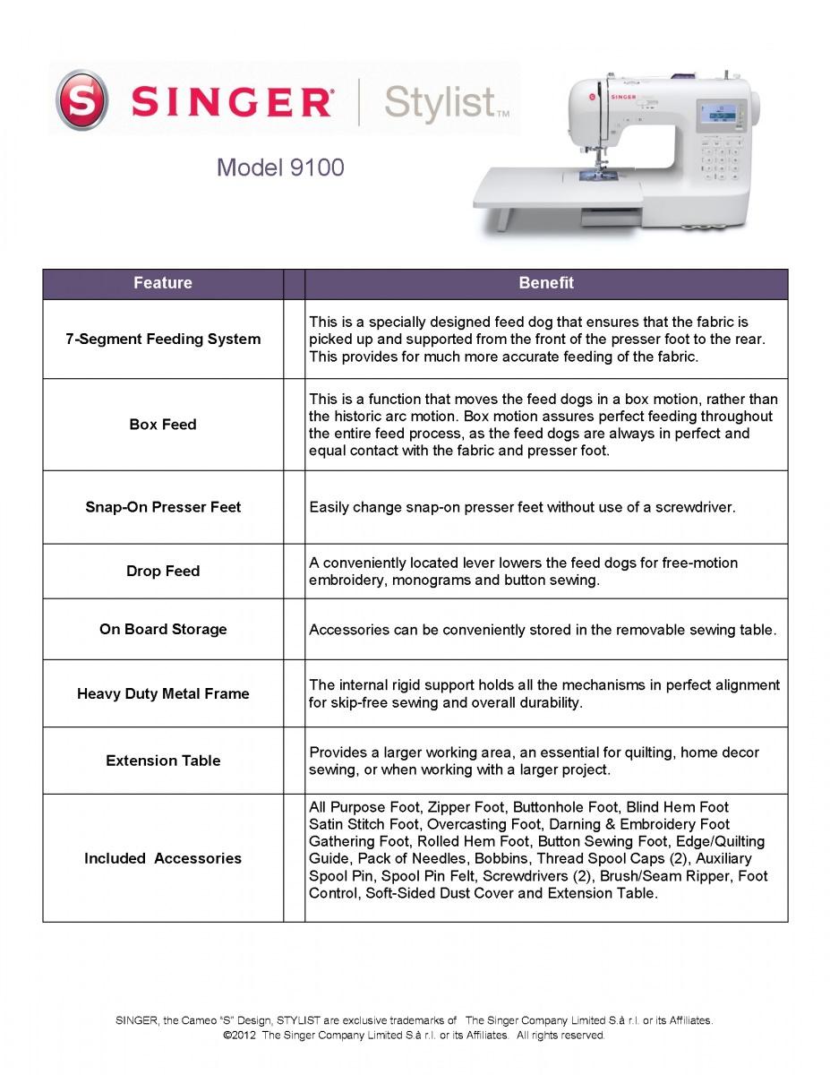 singer sewing machine 9100